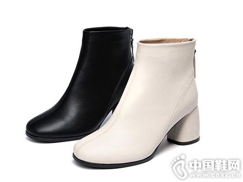 Montagut梦特娇秋冬简约风后拉链短筒靴
