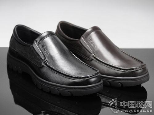 休闲男鞋科而士手工缝帮舒适皮鞋