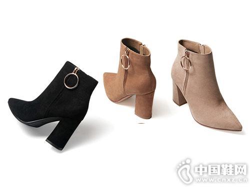 2018冬季新款戈美其尖头粗跟短筒靴