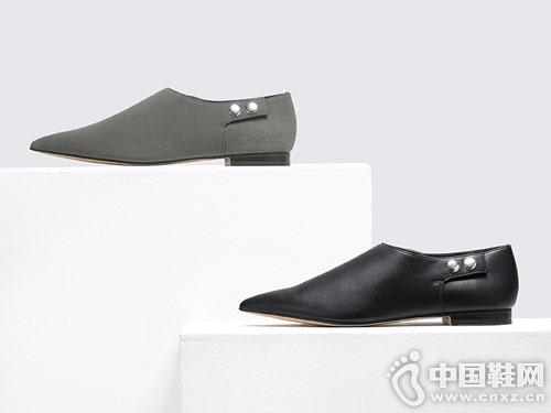 CHARLES&KEITH 简约风尖头铆钉扣平底乐福鞋