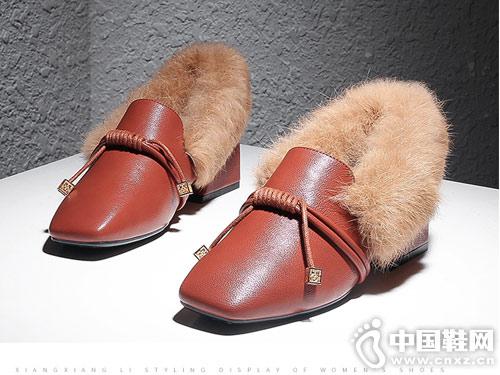 毛毛鞋女冬香香莉2018新款粗跟单鞋