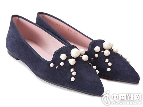18秋冬新品prettyballerinas珍珠浅口尖头芭蕾舞鞋