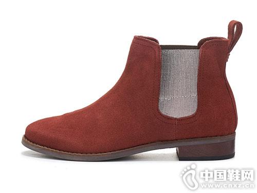 秋冬款牛反绒切尔西靴TOMS女鞋