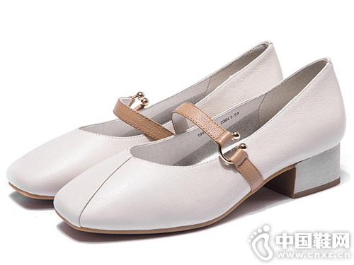 奥康女鞋2019春季新款复古玛丽珍奶奶鞋