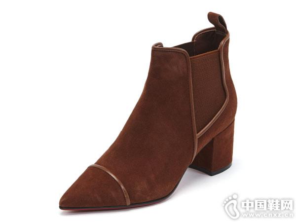 2018新款红科Hongkee短筒靴尖头踝靴