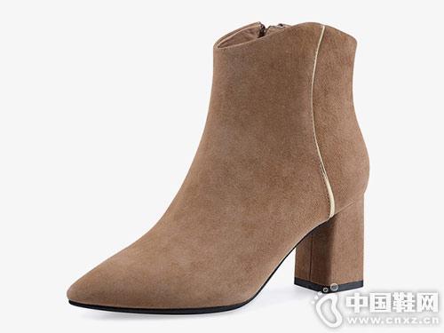 2018冬新款 哈森羊反绒尖头靴子