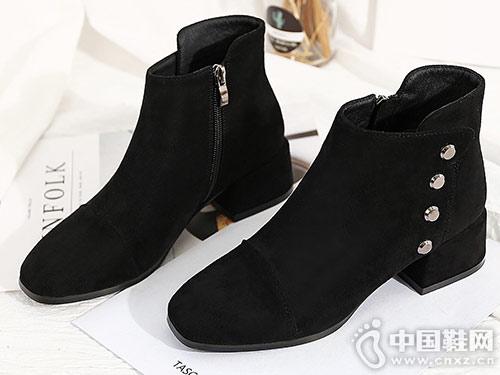 毅雅短靴女冬2018新款小跟粗跟瘦瘦靴