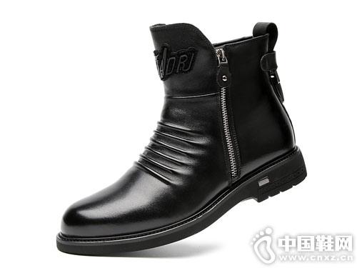 吉尔达男鞋冬季真皮男靴高帮马丁靴