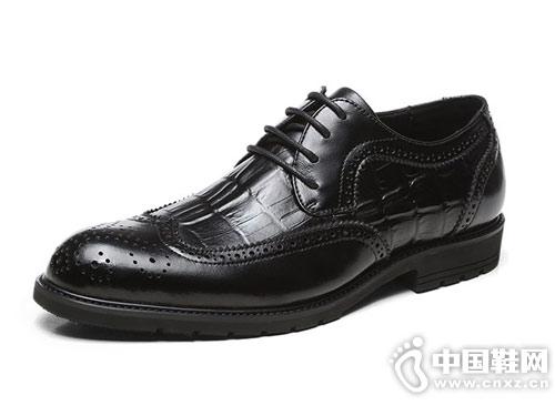 邦霸布洛克鳄鱼纹休闲皮鞋时尚潮鞋