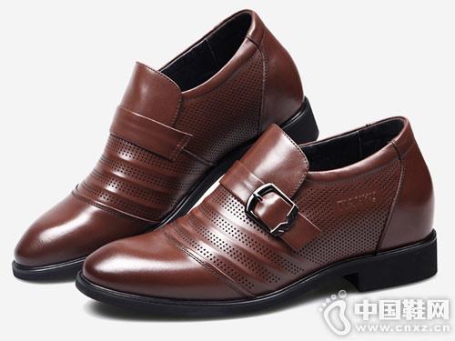 新款田宇皮鞋 男式增高鞋6cm套脚商务皮鞋