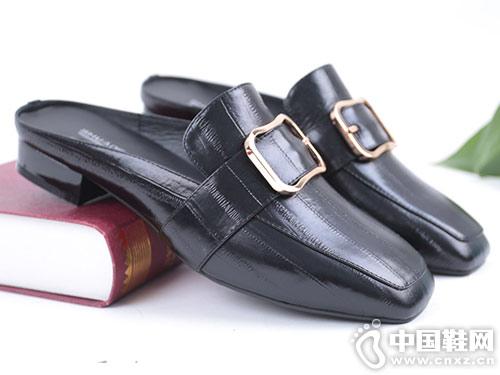 双凤新款时尚韩版方跟包头女时装拖鞋