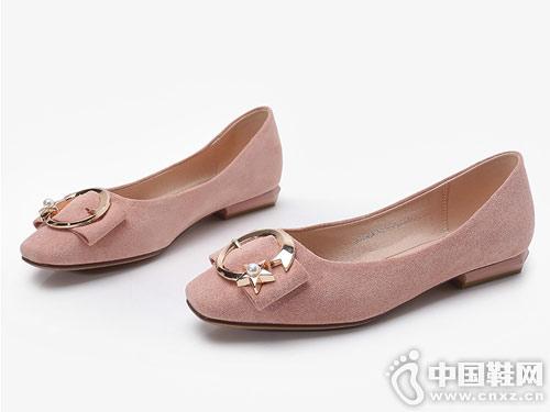 大东19春季新款优雅方跟蝴蝶结仙女鞋