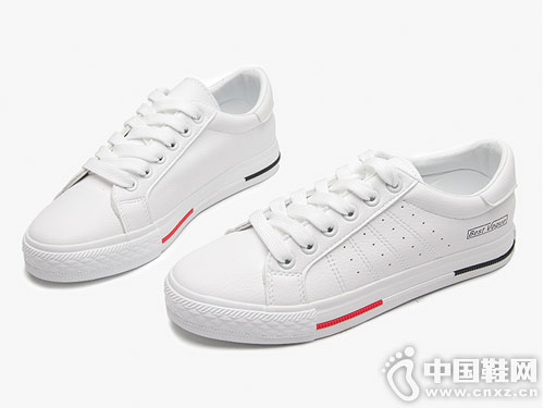 新款大东舒适平底系带透气小白鞋