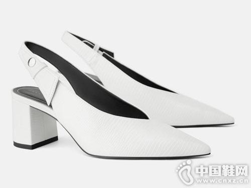 2019新款世尊女鞋新款小粗跟后空单