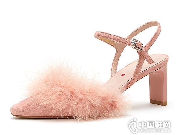 KissKitty2019春新款羊皮革方头空鞋凉鞋