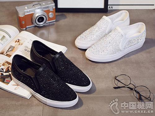 普兰妮时尚平底鞋水钻运动休闲鞋