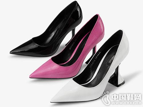 2019新款爱米高尖头浅口高跟鞋社交单鞋