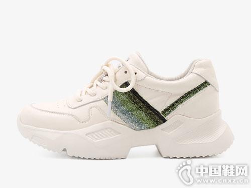 克克女鞋真皮打孔小白鞋2019春季新款