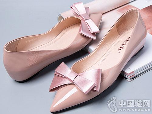 斯莱曼蒂春季单鞋女2019春款蝴蝶结平底鞋