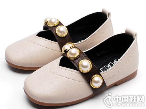 卡卡树女童豆豆鞋方头公主鞋2019新款