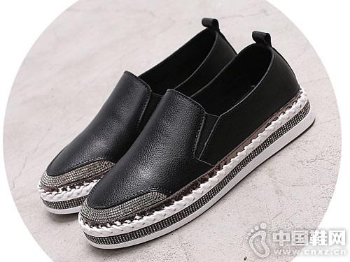真皮乐福鞋休闲水钻女鞋2019新款比佳妮