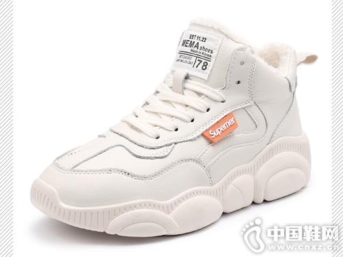 杰豪真皮小白女鞋2019新款老爹鞋
