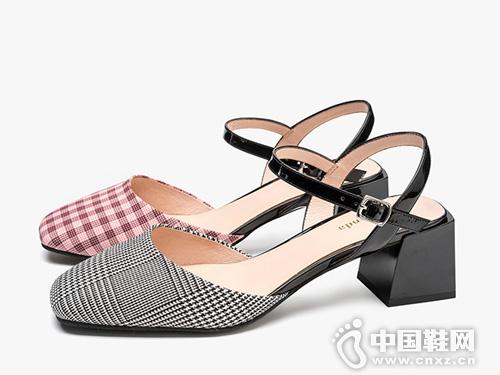 莱尔斯丹19新款方头粗跟中跟格纹包头凉鞋