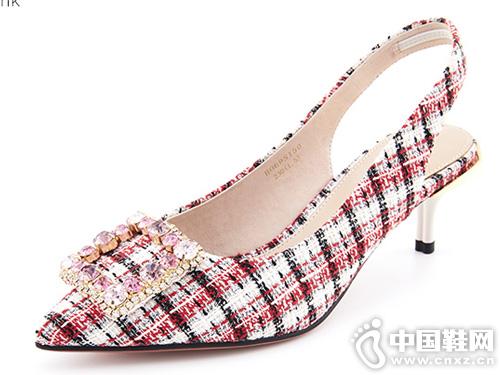 2019新款Hongkee红科方扣格子后空凉鞋