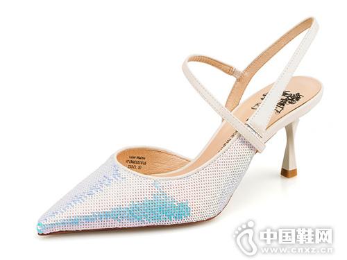 VME舞魅时尚尖头后空亮片细高跟女单鞋
