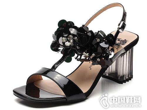 2019舞魅VME苹果彩票主页网露趾亮片粗高跟女凉鞋