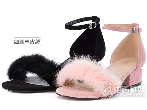 新款貂毛cover卡文圆头异形跟时尚女凉鞋