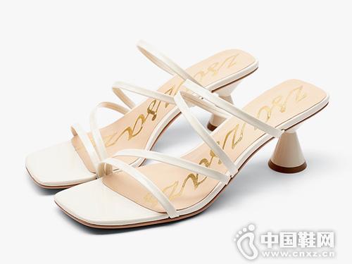 莎莎苏2019夏季新款潮鞋时尚一字带高跟凉拖鞋