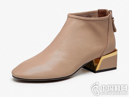 白领丽人粗跟2019秋冬真皮时尚英伦风踝靴