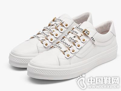 莎莎苏2019新款织带平底时尚帆布鞋