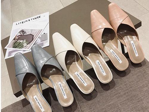 印象风2019春季新款中跟细跟尖头懒人鞋
