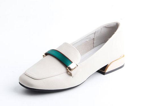 2019仙妮特方头低跟休闲舒适懒人鞋时尚女鞋