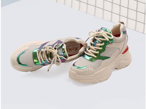 老爹鞋2019新款牛皮克克女鞋松糕厚底休闲鞋