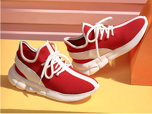 骆驼女鞋2019新款飞织休闲撞色系带网红运动鞋