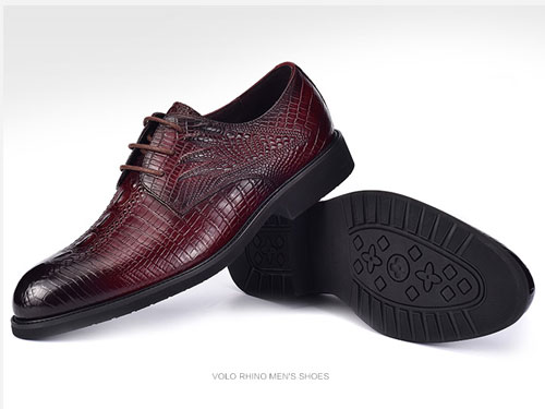 VOLO犀牛男鞋-真皮鳄鱼纹商务正装牛皮鞋