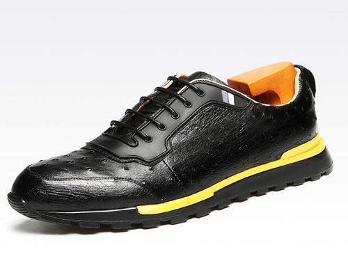 BONISY男鞋-男士鸵鸟皮运动板鞋时尚低帮潮鞋