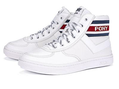 PONY休闲鞋波尼秋冬季高帮时尚滑板鞋