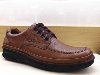 雅乐士气垫减震底头层牛皮休闲系带皮鞋