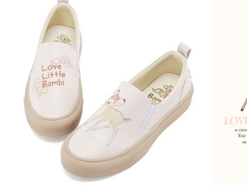 Grace-gift迪士尼斑比可爱小白鞋女百搭学生一脚蹬
