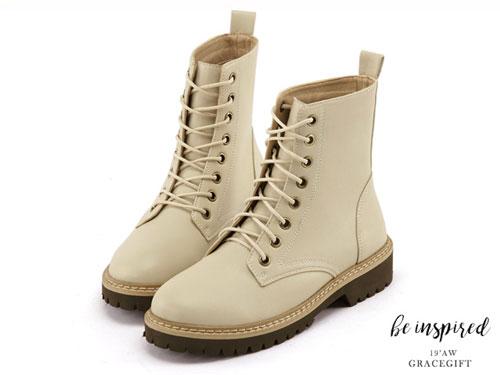 Grace-gift马丁靴女厚底增高短筒机车靴