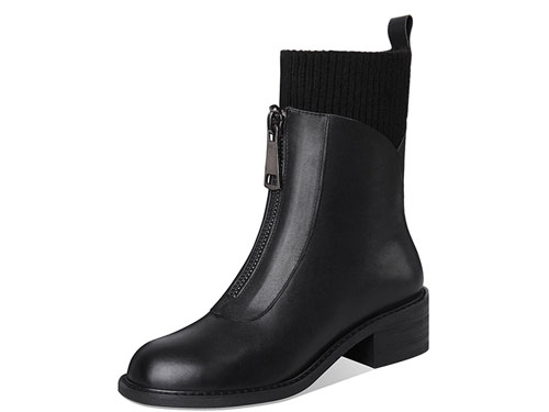 波尔谛奇马丁靴女秋冬新款2019袜靴百搭英伦风