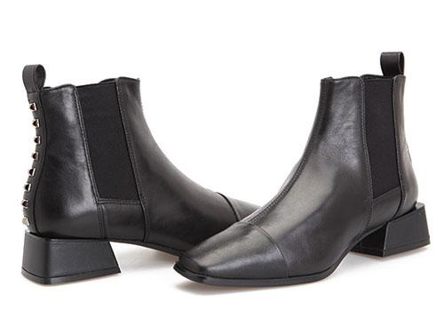 fed秋季女鞋街头风方头中跟舒适铆钉切尔西短靴