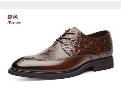 老爷车男士皮鞋秋季鳄鱼尖头男式韩版商务内增高