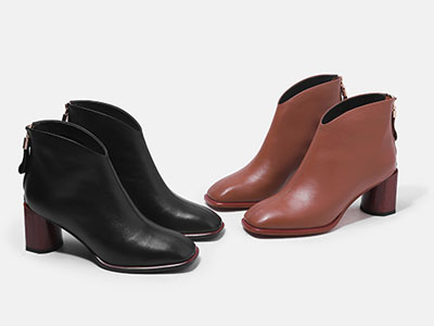 路尚女鞋方头靴子高跟鞋冬季新款真皮粗跟马丁靴