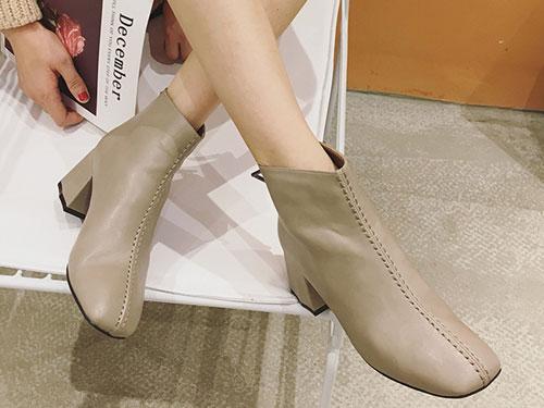 印象风2019新款方头后拉链高跟靴粗跟韩版百搭