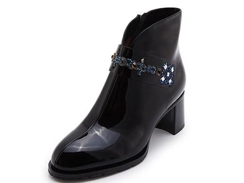Hongkee红科短靴子高跟冬季女鞋粗跟